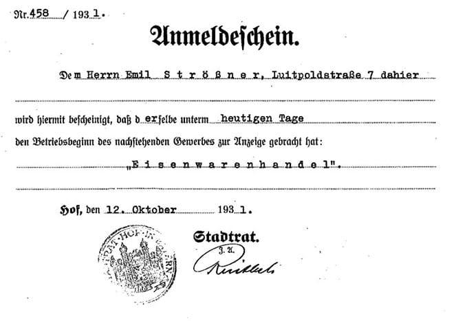Anmeldeschein Eisenwarenhandel Emil Strößner